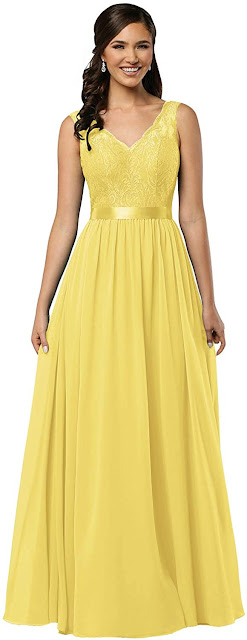 Lace Yellow Chiffon Bridesmaid Dresses