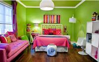 Dormitorio para chicas verde rosa