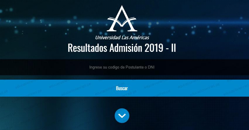 Resultados Universidad Las Américas 2019-2 (Domingo 8 Septiembre) Lista de Ingresantes - Examen Admisión ULASAMERICAS - www.ulasamericas.edu.pe