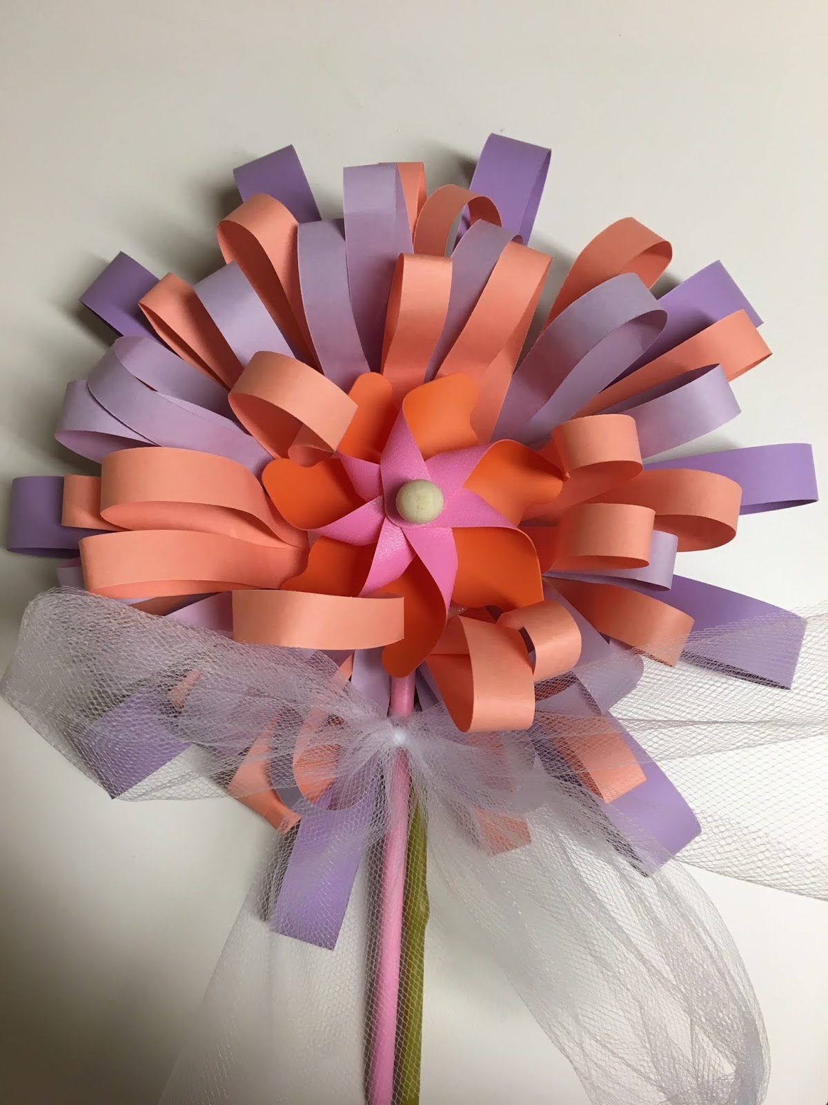 Make my day camp paper flower with pinwheels made a big paper flower to give to my little friend at her dance recital very easy to make and look how cute it is mightylinksfo