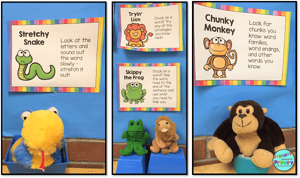 decoding strategy posters are great reminders for kids when they are stuck on a a word.  Using characters helps students better remember strategies to try.