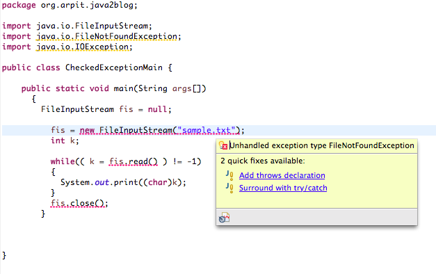 Checked Exception Example