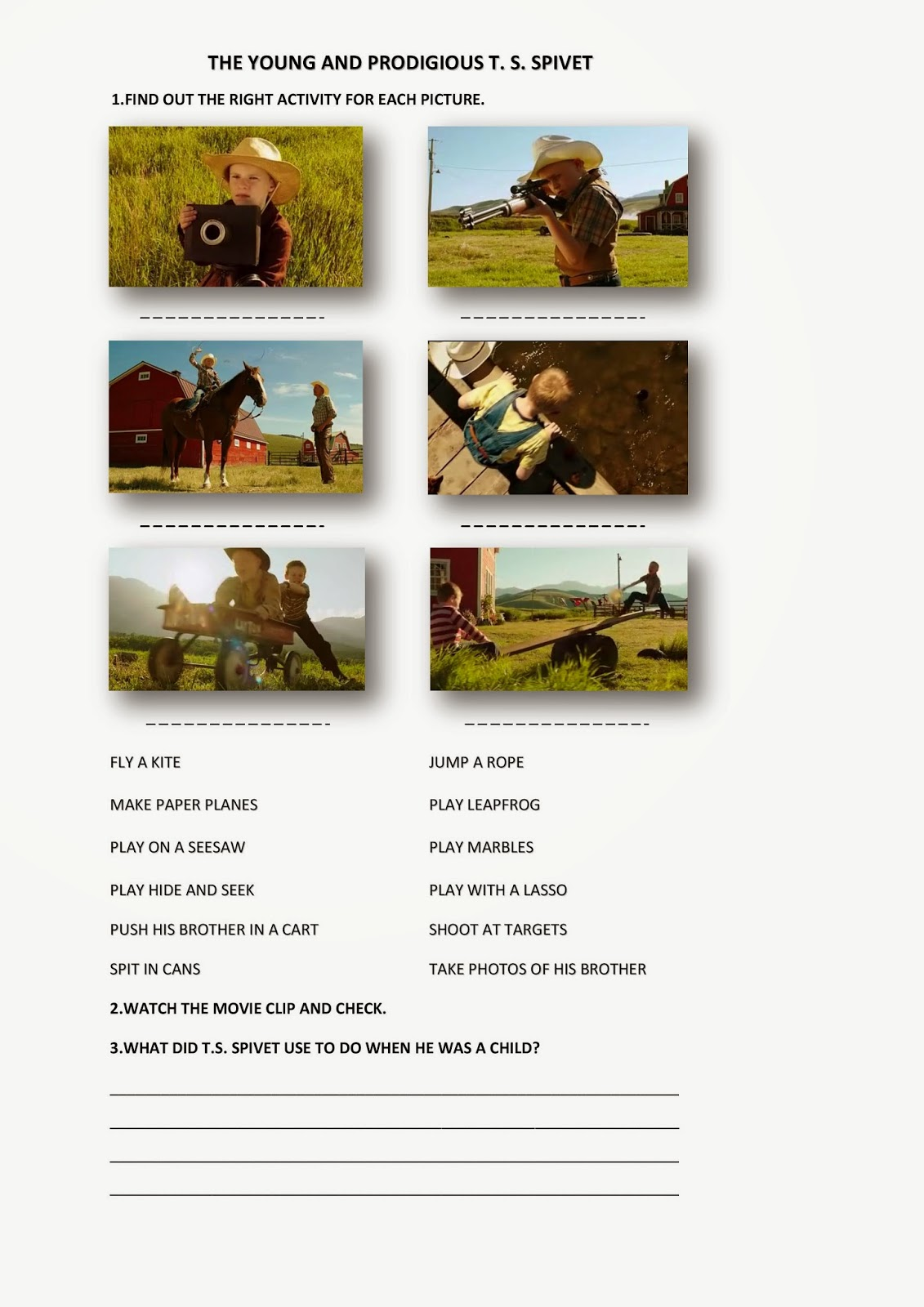 Movie Segments To Assess Grammar Goals The Young And Prodigious T S Spivet Used To