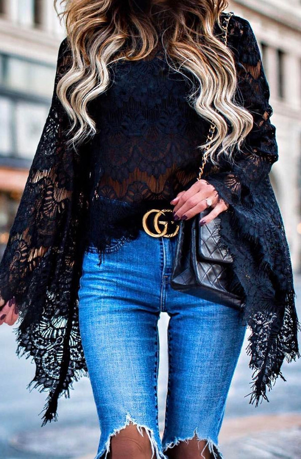 black lace top + jeans: casual outfit idea