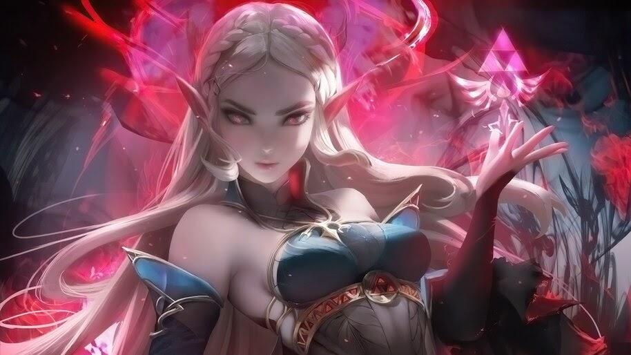 Dark, Princess Zelda, Fantasy, Anime, Elf, Girl, 4K, #4.2492