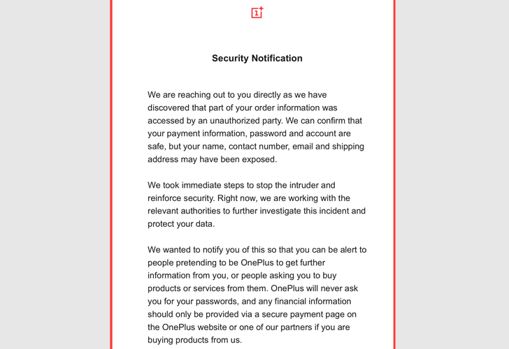OnePlus opens up about new data breach; customer order information accessed