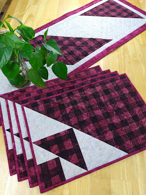 red and black plaid placemats and table runner