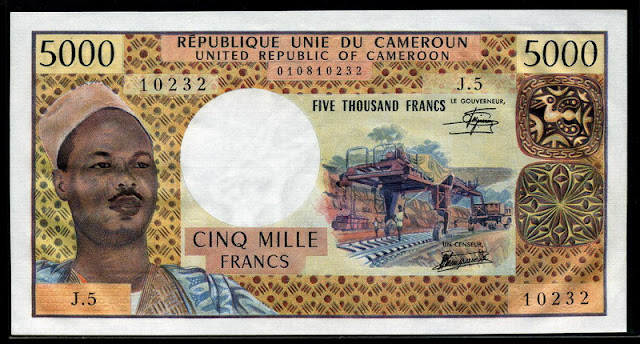 Cameroon banknotes currency money 5000 Francs banknote CFA franc,Ahmadou Ahidjo, President of Cameroon