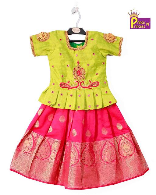 Green Pink Pattu Pavadai lehenga