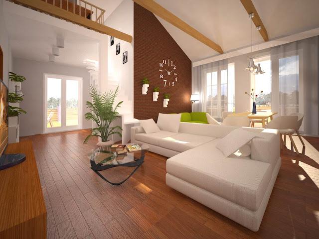 Интерьер гостиной и столовой