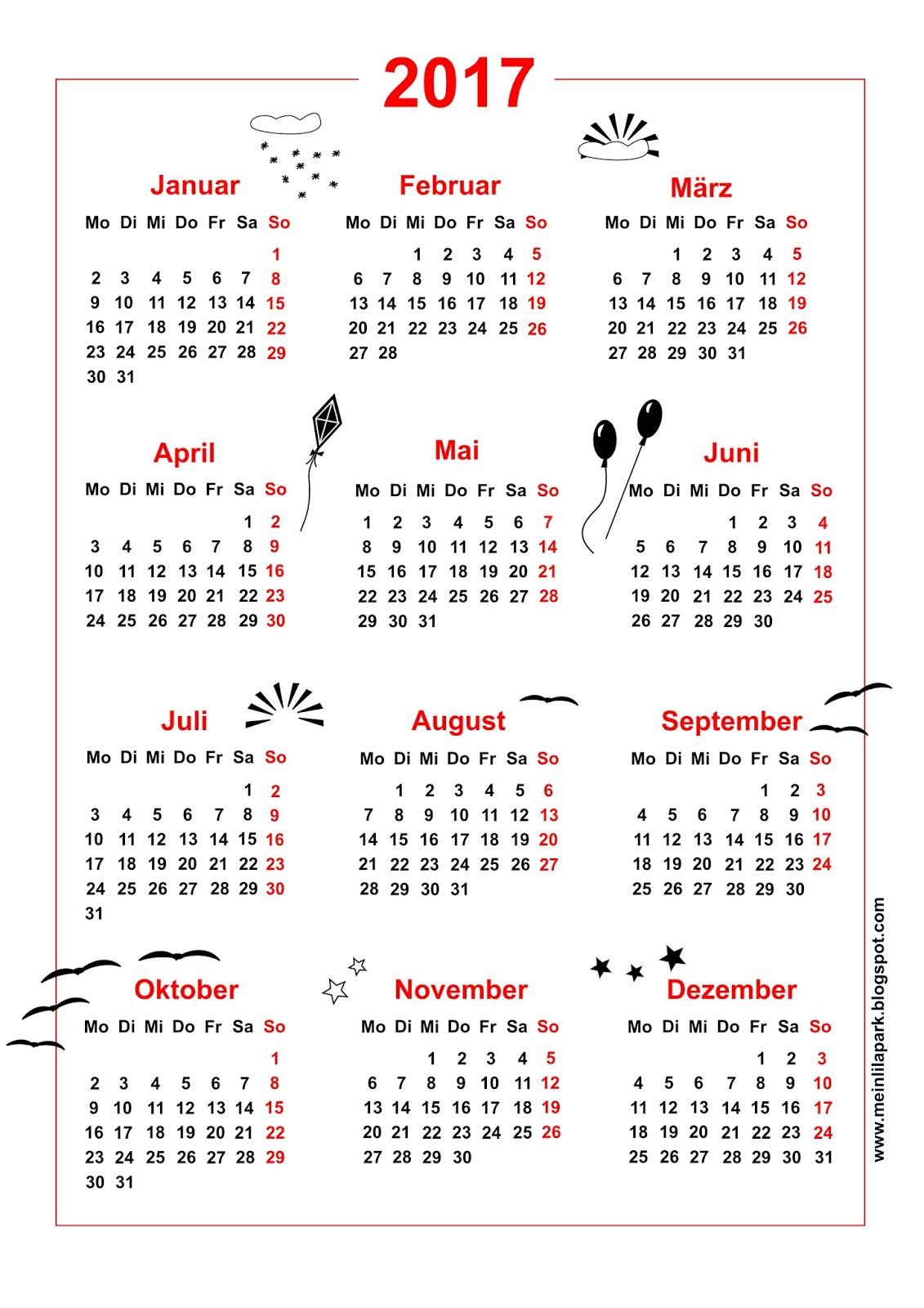 free printable 2017 cat calendar ausdruckbarer kalender freebie meinlilapark. Black Bedroom Furniture Sets. Home Design Ideas