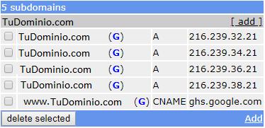 Ejemplo de registros tipo A y CNAME en FreeDNS