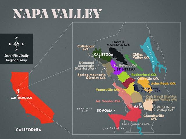 Mapa de Napa Valley: Melhores regiões