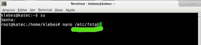 Para montarmos uma unidade em NTFS ou EXT4 com montagem automatica