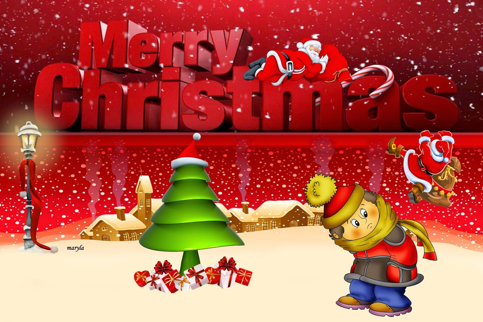 Cute merry christmas background full hd 1080p wallpapers merry christmas 3d text cartoon animation wishes greetings kristyandbryce Choice Image