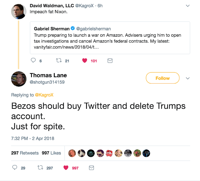 April 2 Bezos should buy Twitter and delete Trump Account. @shotgun314159
