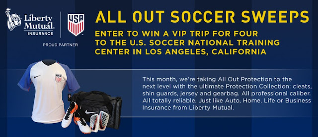 "Liberty Mutual Insurance is giving away a trip to the US Soccer National Training Center in LA, California and others will score great ""All Out"" protective gear like shin guards, cleats and jerseys!"