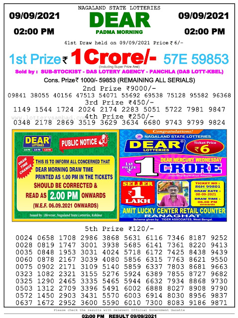 Nagaland State Lottery Result 9.9.2021 Today - 2pm