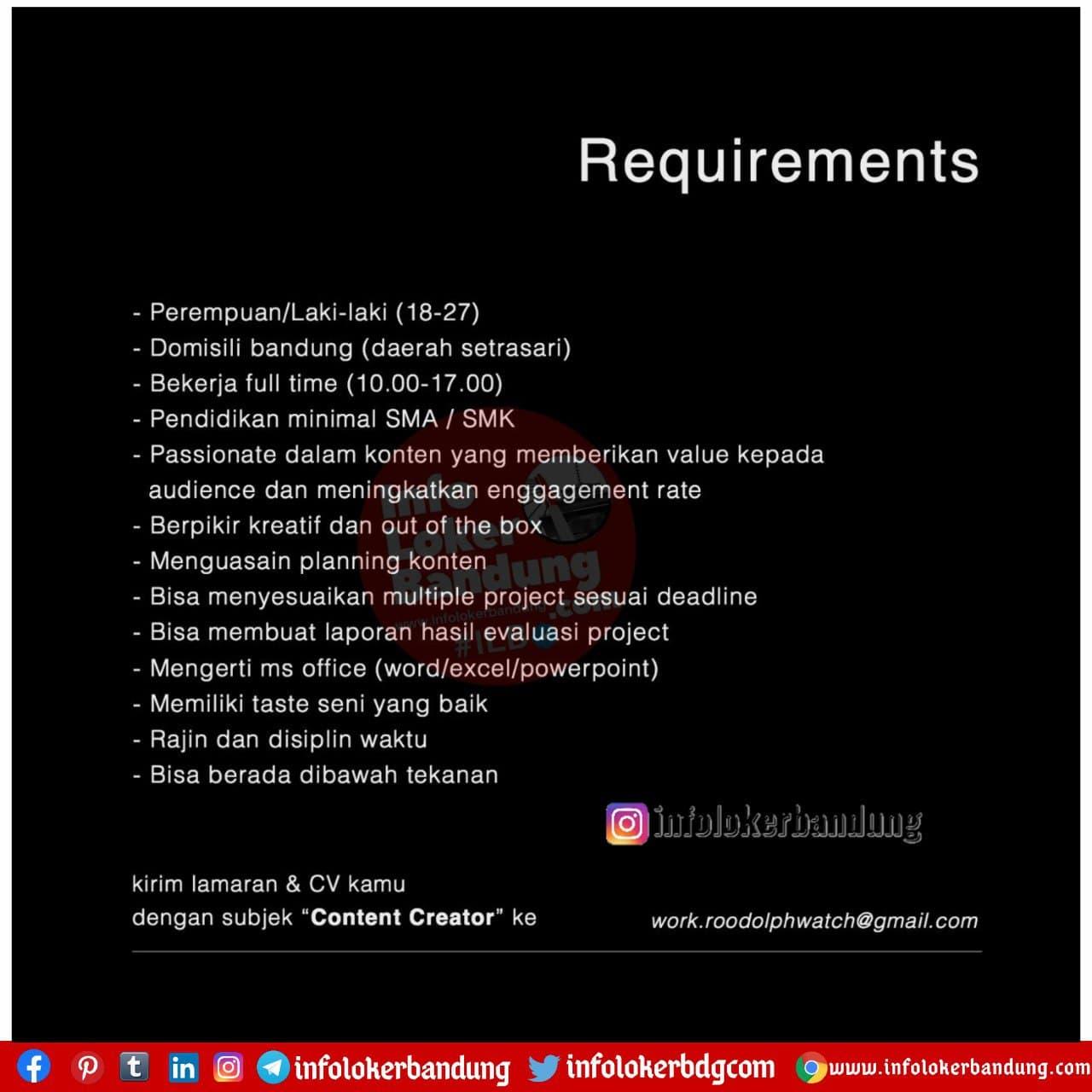 Lowongan Kerja Roddolph Watch Bandung November 2020