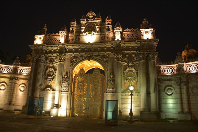 Dolmabahce Palace Gate by night