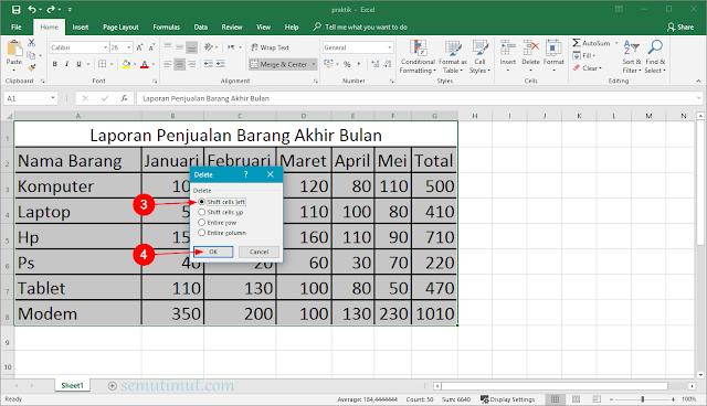 cara membuat tabel pada ms excel