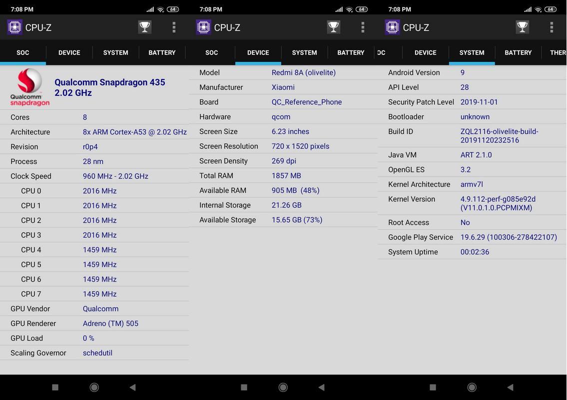 CPU-Z Xiaomi Redmi 8A