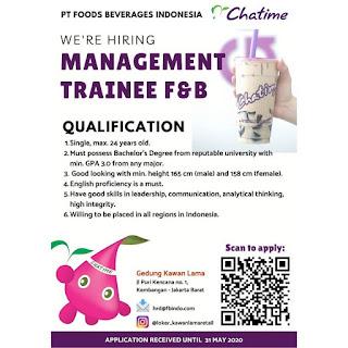 Info Lowongan Kerja Chatime Indonesia Management Trainee