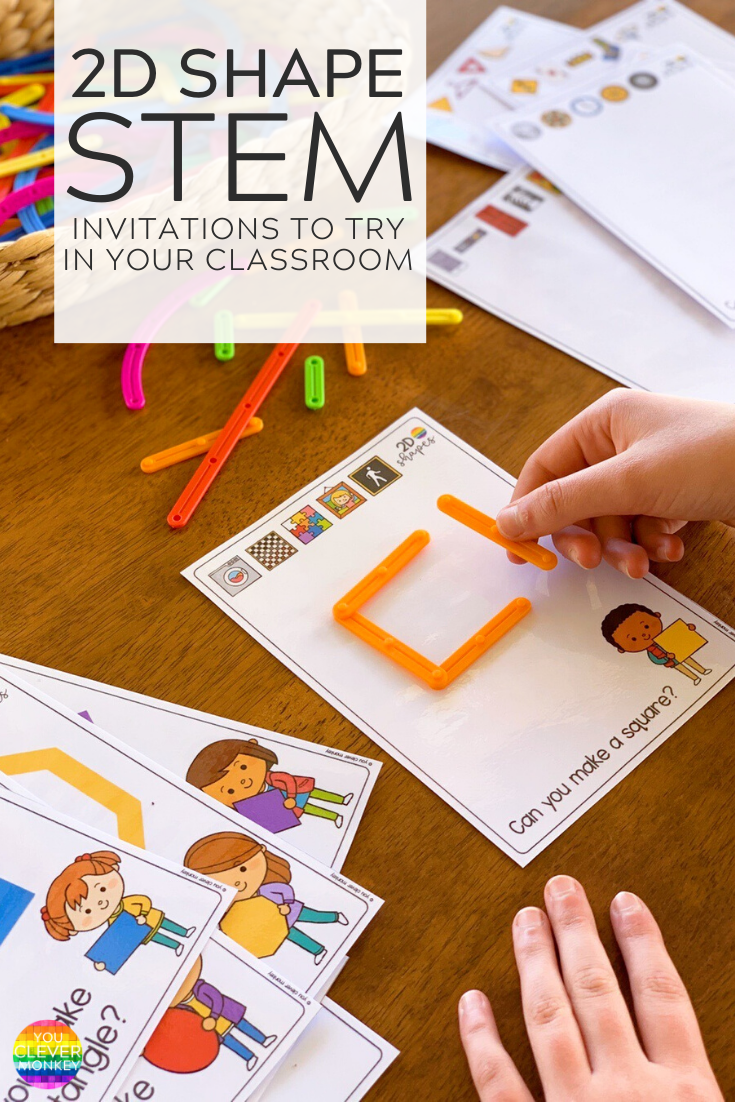 2D SHAPE STEM INVITATIONS - Recreate these simple STEM invitations in your classroom to help children learn about 2D shapes and their attributes through play | you clever monkey #stemactivitiesforkindergarten #2dshapeactivities #mathcentersforkindergarten #2dshapeSTEMcenters