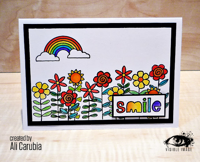 happy card | flowers | rainbow | stamps | visible image