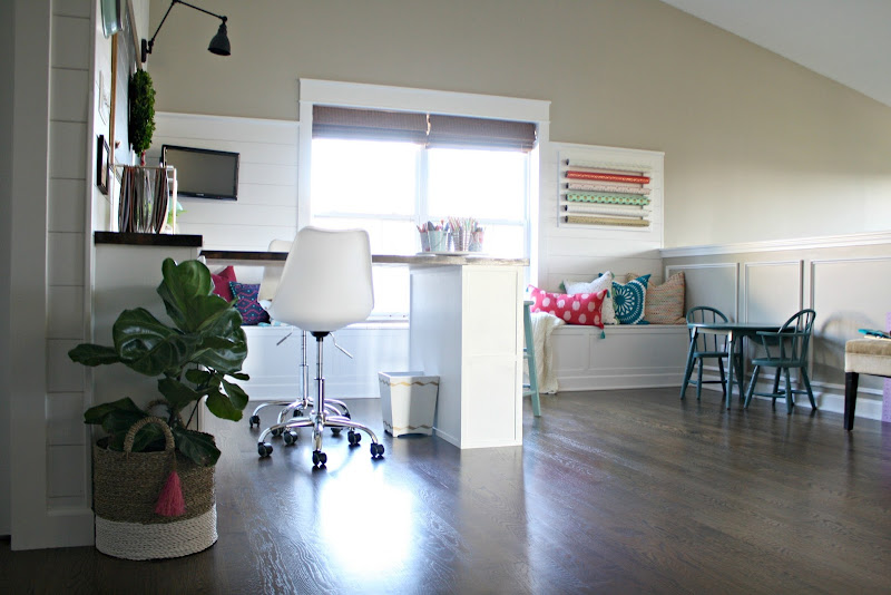 loft space turned into a craft room/office