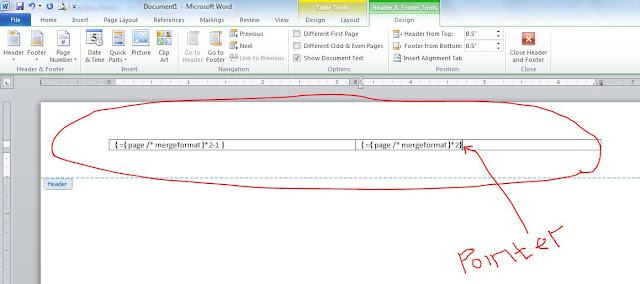 Cara membuat dua kolom page number dalam satu kertas di microsoft office word