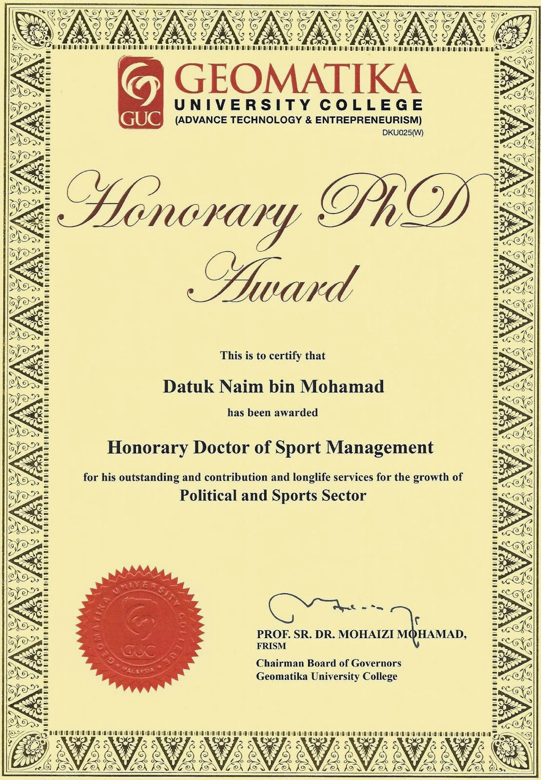 Honorary PhD Award