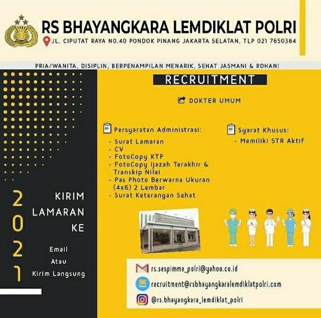 Loker Dokter Umum RS Bhayangkara LEMDIKLAT POLRI Jakarta