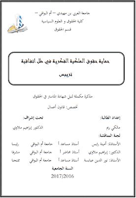 مذكرة ماستر: حماية حقوق الملكية الفكرية في ظل اتفاقية تريبس PDF