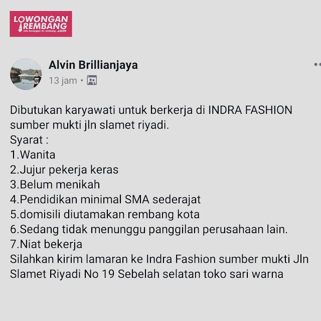 Lowongan Kerja Pegawai Toko Indra Fashion Sumberjo Rembang