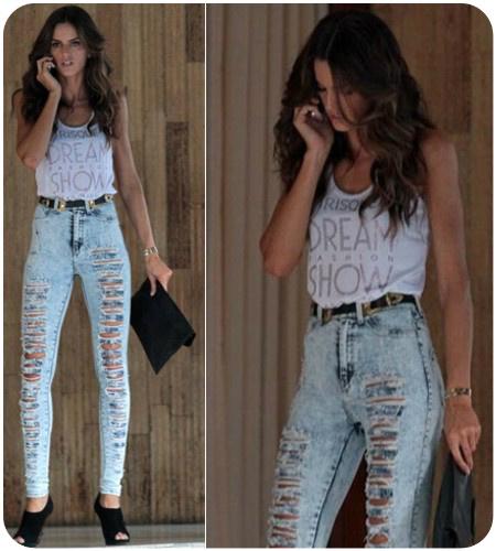 b8eba2c40 Essa e uma calça jeans cintura alta e com o famoso Destroyed