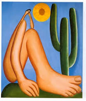 A foto mostra Abaporu de Tarsila do Amaral. uma das obras de arte mais famosas da artista.