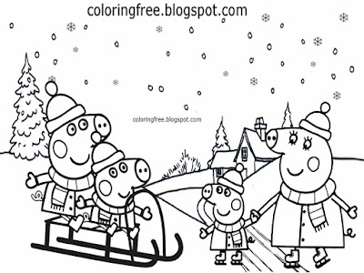 Xmas holiday sledge simple printable winter sport drawing Peppa pig Christmas coloring page activity