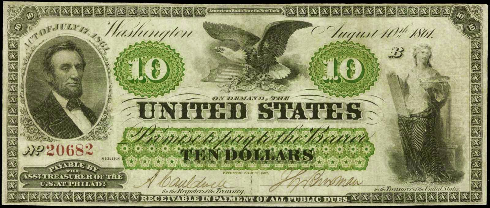 United States paper money 1861 Ten Dollar Demand Note