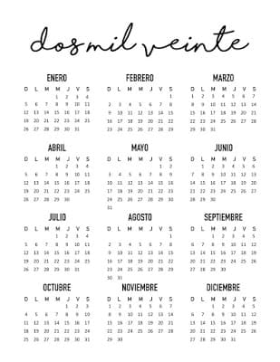 Calendario simple 2020 gratis para imprimir