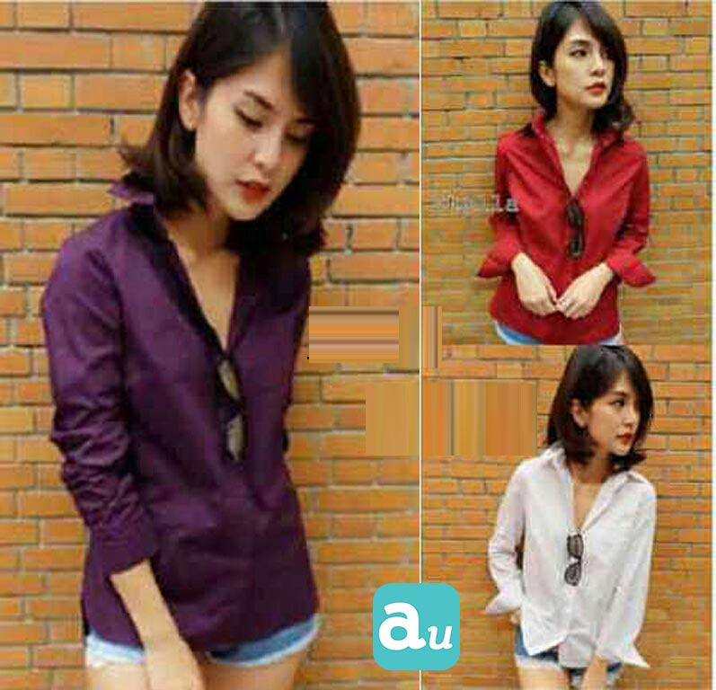 Jual Baju Lengan Panjang Basic Cotton Blouse - 13234