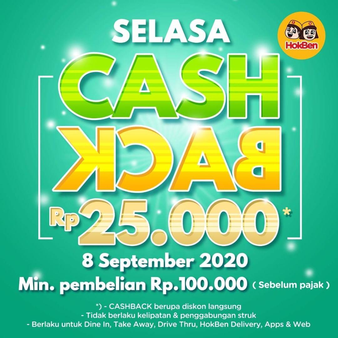 HOKBEN Promo SELASA CASHBACK Rp 25.000 Untuk Semua Menu