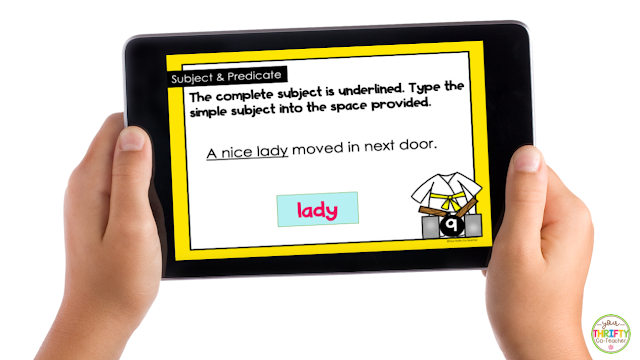 Subject and predicate digital task cards give students practice opportunities.