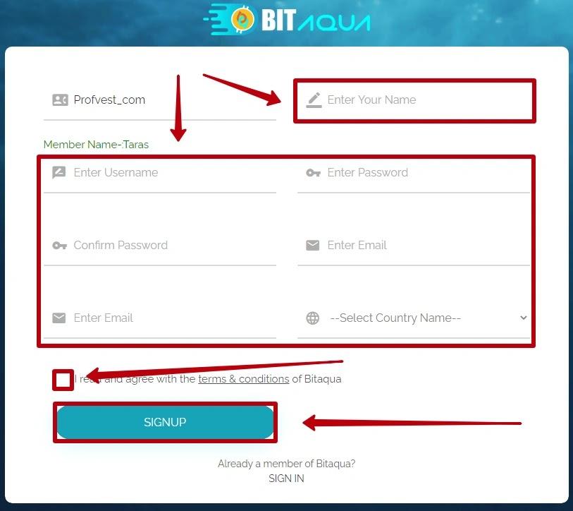 Регистрация в BitAqua 2