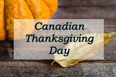 Canadian thanksgiving day written on a image of bumpkin & maple leaf.