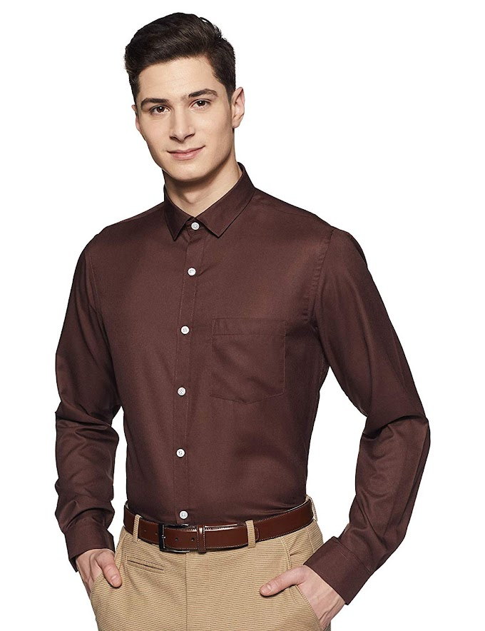 EX Men's Solid Regular Fit Formal Shirt