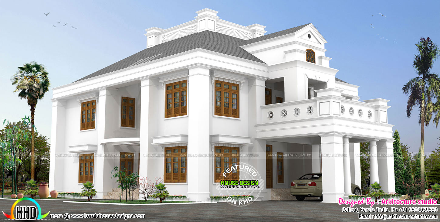 4450 sq ft 5 bedroom luxury colonial home kerala home for Colonial luxury house plans