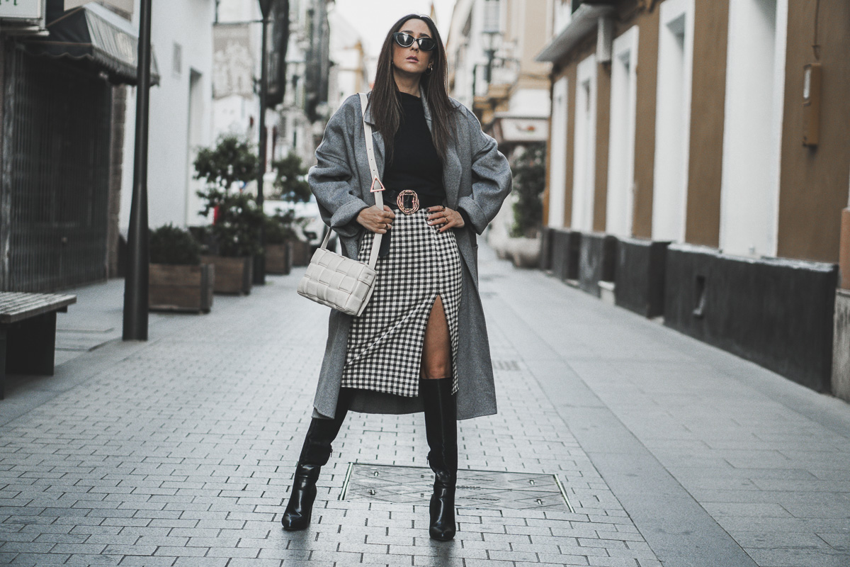 vichy plaids - abrigo gris largo