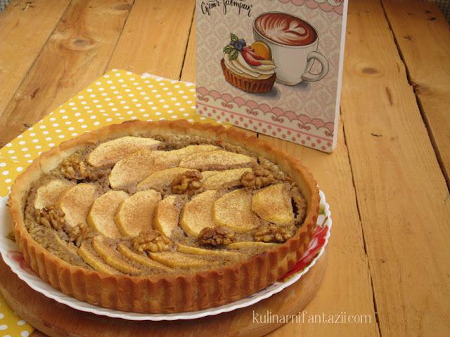 Тарт с орехи и ябълки