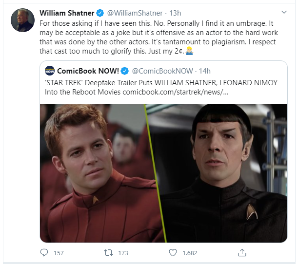 Tweet di William Shatner contro i filmati deepfake di Star Trek